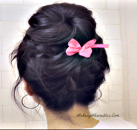 Romantic Sock Bun - Upside Down Braided Bun, Lace braid style for Short, Medium, Long hair.  Easy wedding, prom, everyday