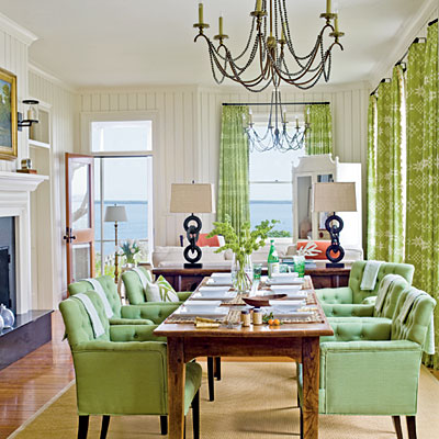 ... Dining Room! Firstu2026LOVE The Chairsu2026everyone Has Arms (Yeah!) And The  Color Is Simply Dreamy! The Curtains Take The Green To The Next Level And  Subtle ...