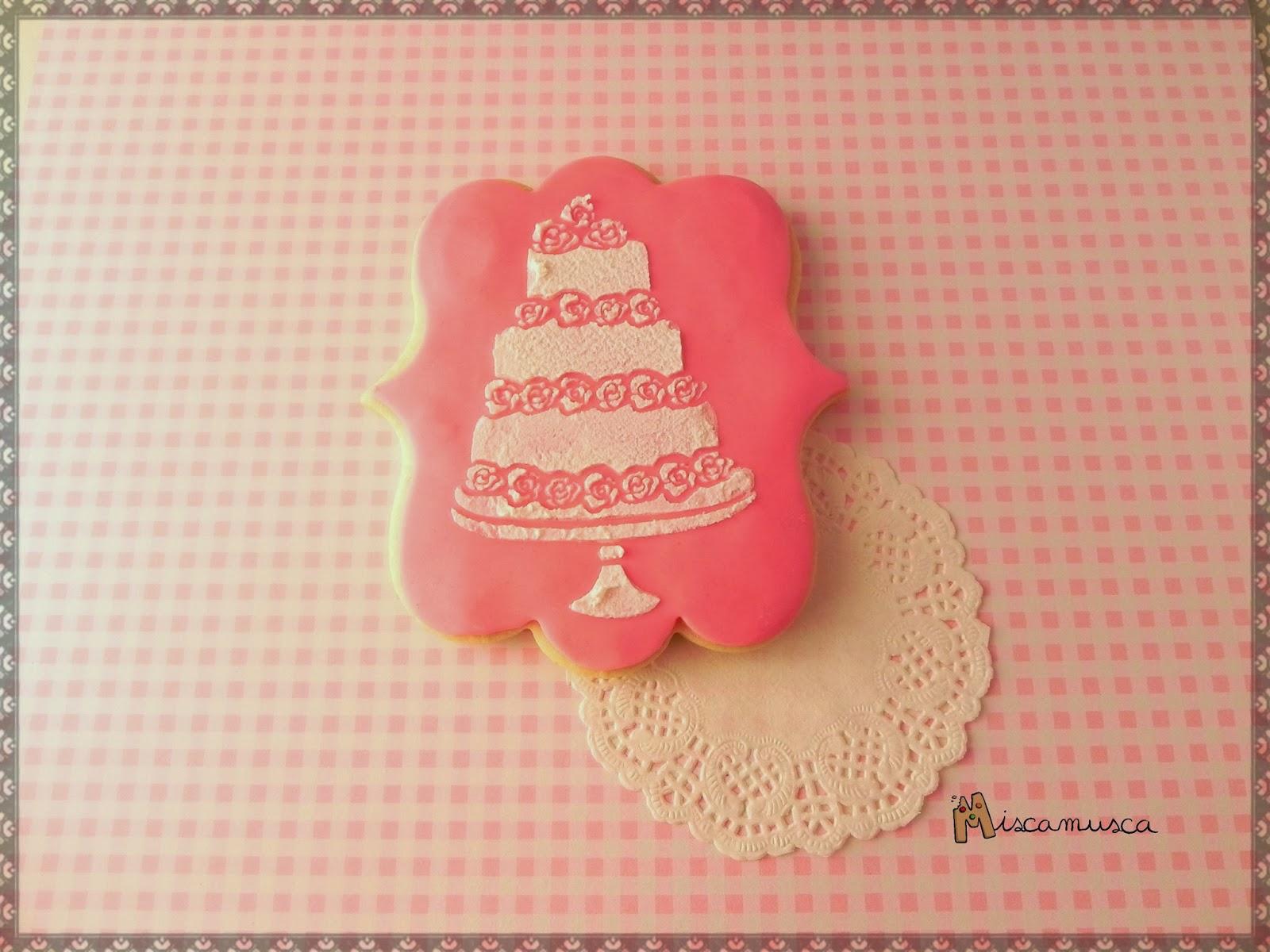Galleta boda pastel rosa