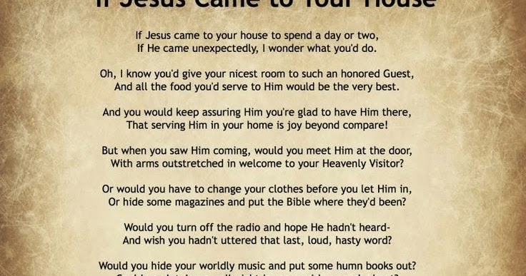 Didi @ Relief Society: If Jesus Came to Your House Poem ...