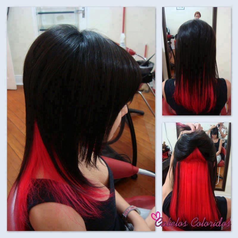 Fabuloso Loucas por Cabelos: Cabelo preto com o meio vermelho: Lindo ME23