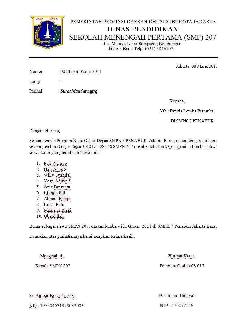 Pramuka 207 Surat Mandat
