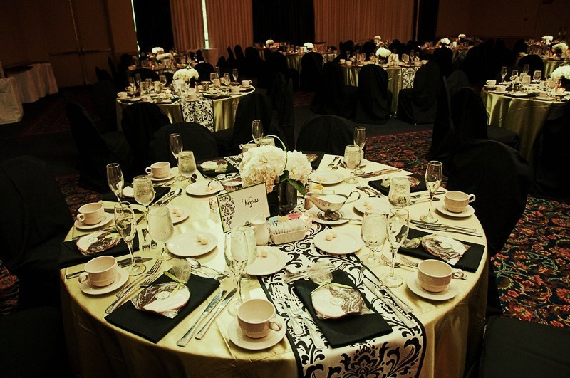 Kaara and Chris wanted the traditional look of black white damask with