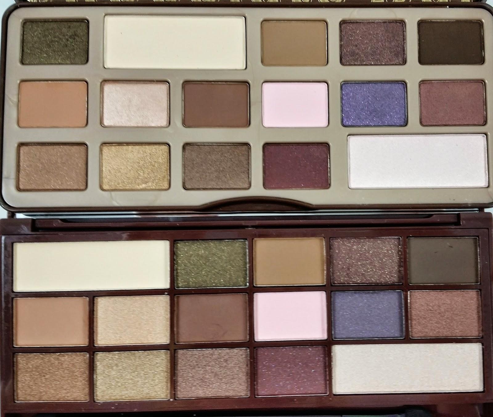 Makeup Revolution I Heart Chocolate Vs. Too Faced Chocolate Bar ...