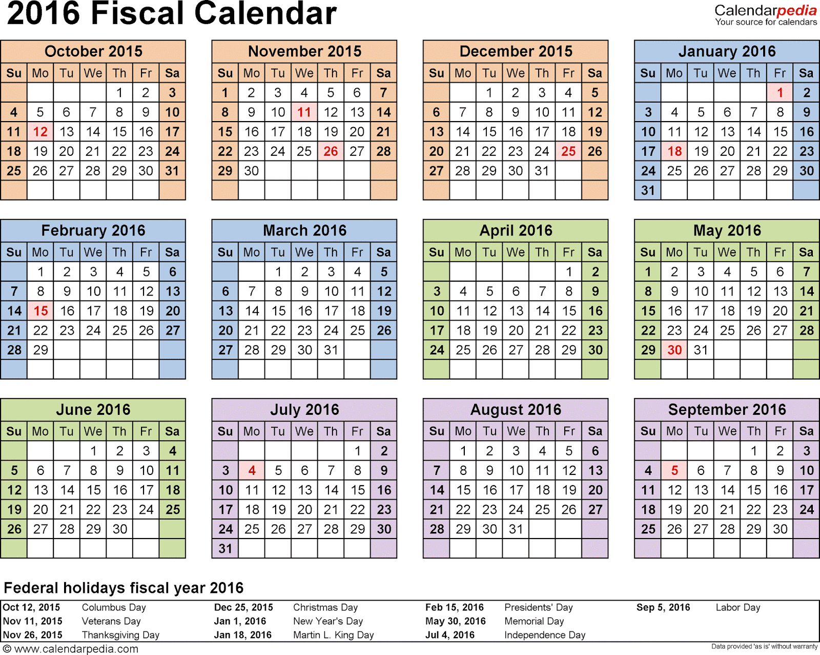 Fiscal Calendars 2016 Printable