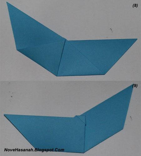 langkah-langkah melipat kertas origami untuk membuat bentuk binatang kelelawar yang unik, cocok untuk anak SD kelas 4, 5, dan 6, serta untuk pemula 9