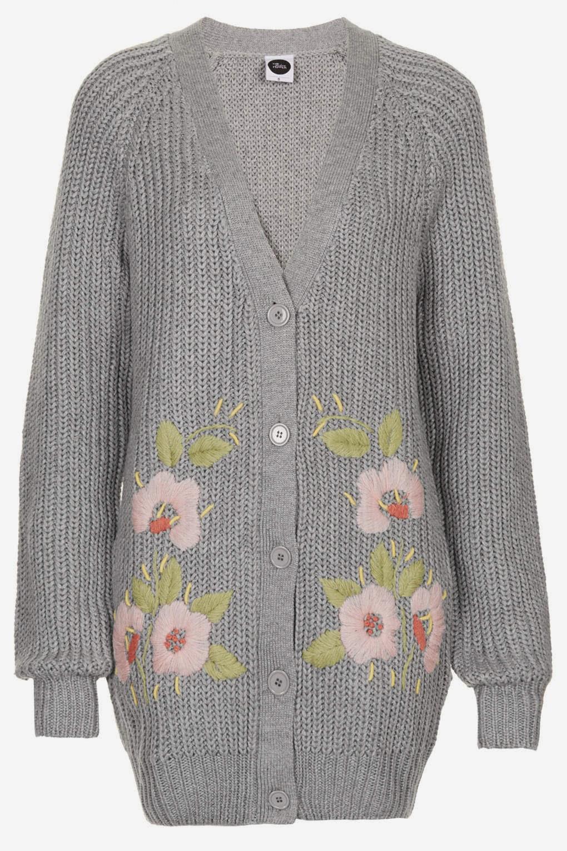 grey floral cardigan