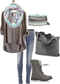 Grey Top by busatorac on Polyvore. Perfect with the scarf and boots