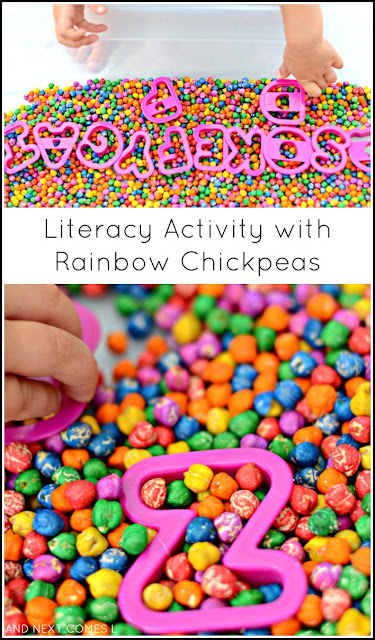 Invitation to play with rainbow dyed chickpeas and alphabet cookie cutters - combines sensory play with literacy learning for kids from And Next Comes L