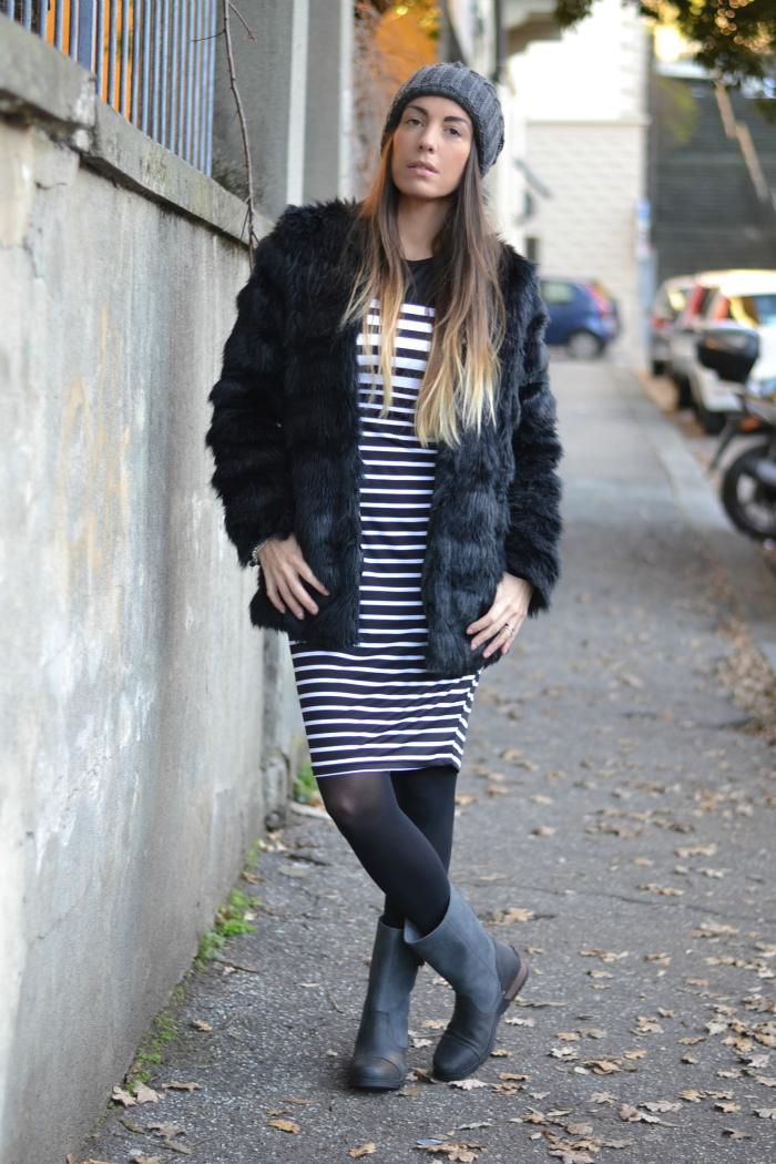 abito righe bianco nero