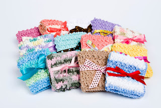 Spa scrubbies cotton crocheted washcloth Gwen's Homemade Gifts