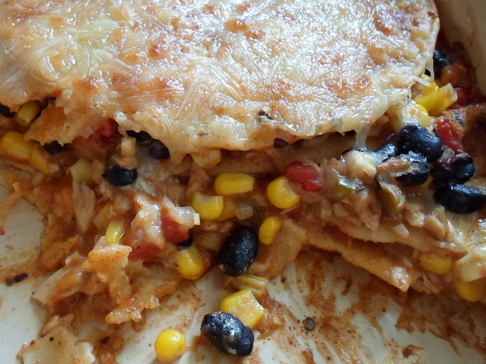 Happier Than A Pig In Mud: Chicken and Black Bean Enchilada Casserole ...