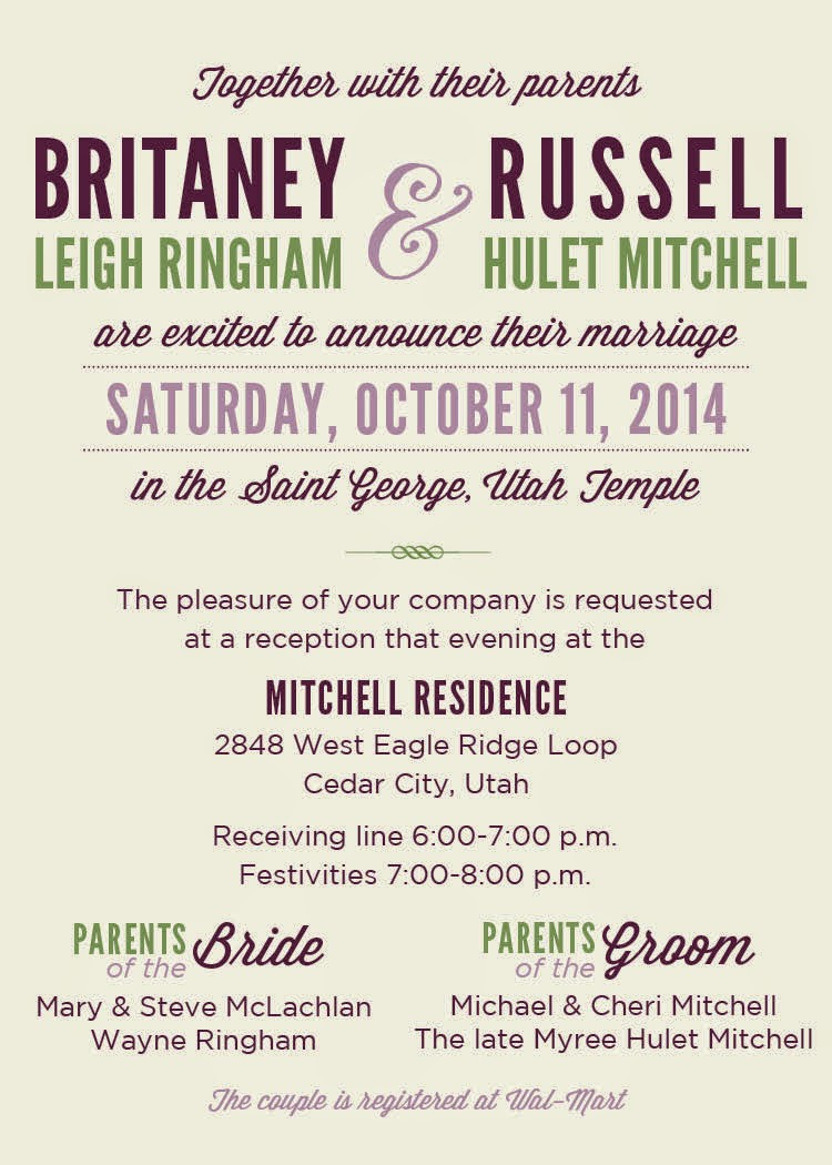 Personalized wedding invitation britaney russell monicamarmolfo Images