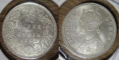 victoria queen 1/4 rupee 1862