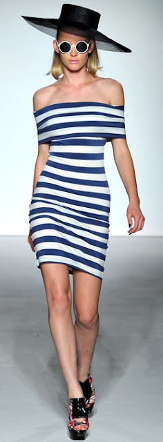 blue white stripe bodycon dress ppq ss 2013