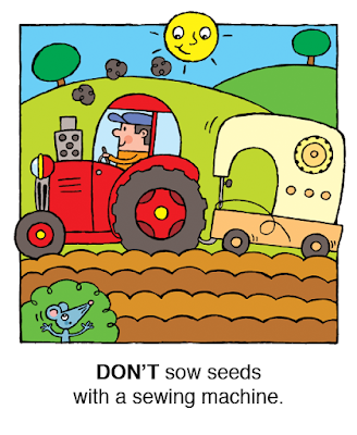 Picture  of a farmer sowing seeds with a sewing machine from Don't Juggle Bees! A children's kindle picture book