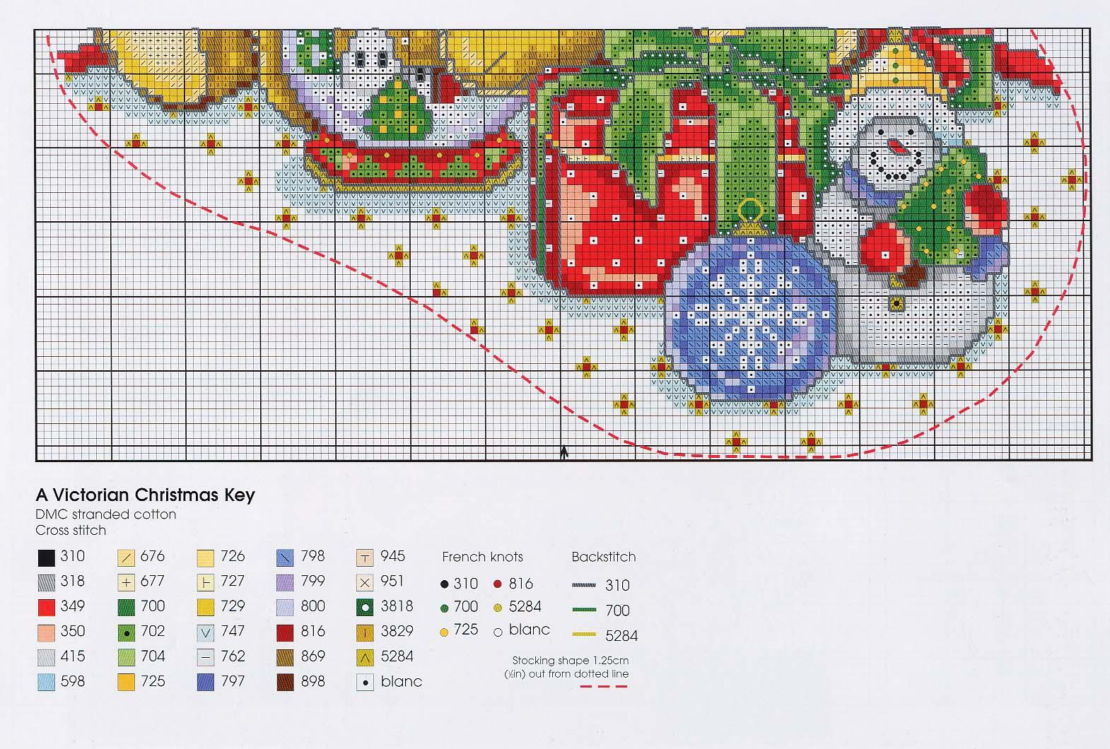 Схема вышивки новогоднего сапожка 79