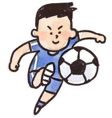 シュートを打っているサッカー選手のイラスト