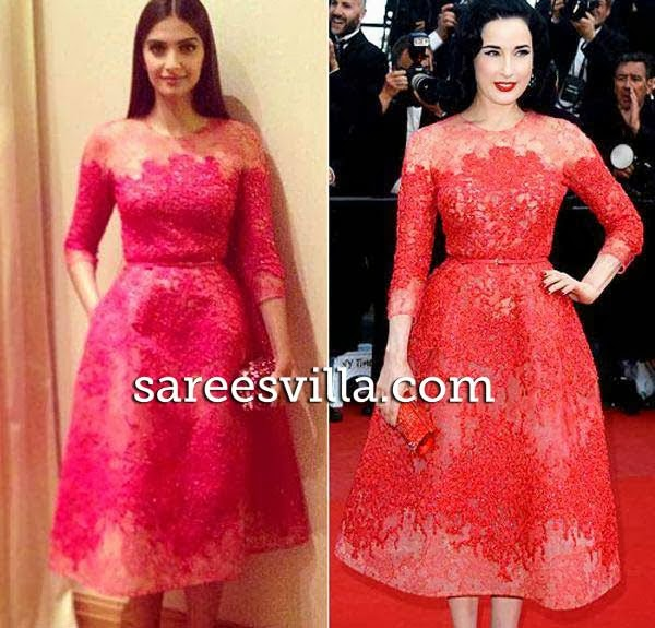 Sonam Kapoor and Dita Von Teese in same outfit