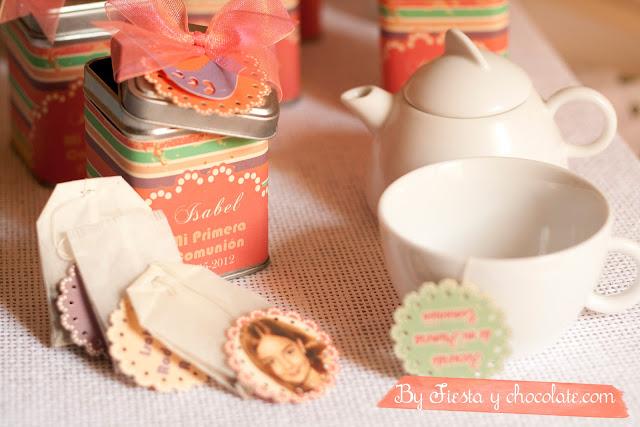 Cajita de té recuerdo comunión by Fiesta y chocolate