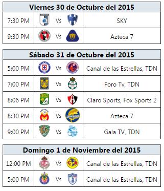Programación TV Jornada 15 Futbol Mexicano apertura 2015