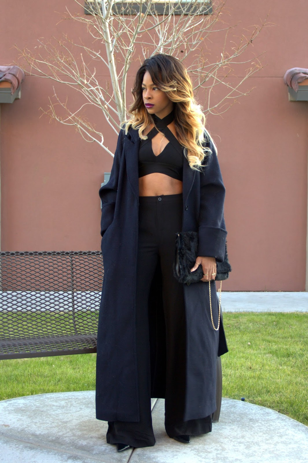 fall lips, ombre hair, wide leg trousers