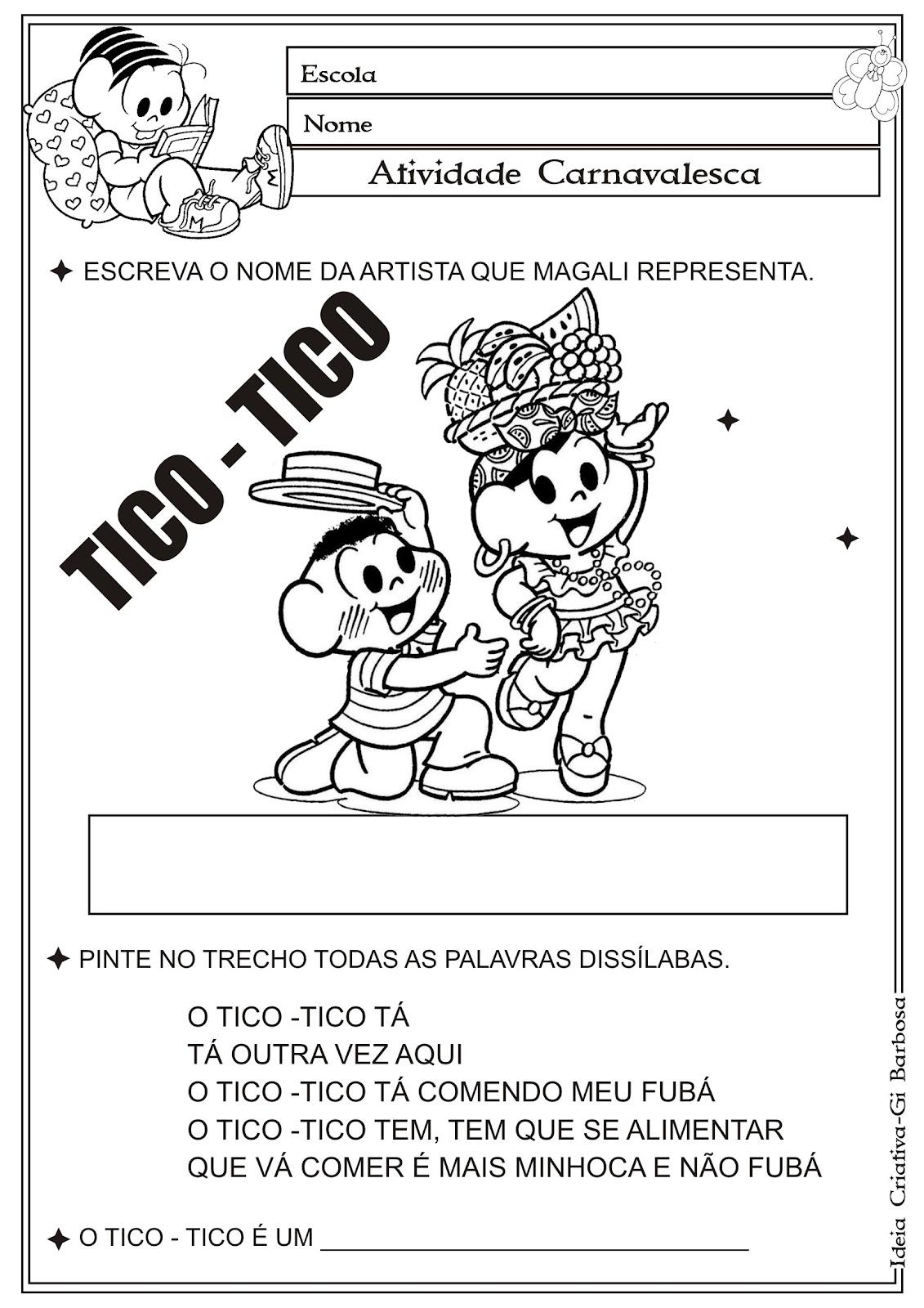 Atividade Carnavalesca / Carmen Miranda Tico- Tico no Fubá