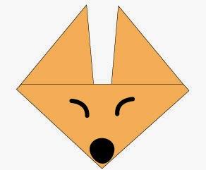 Bước 5: Vẽ mắt, vẽ mũi để hoàn thành cách xếp mặt con cáo giấy origami.