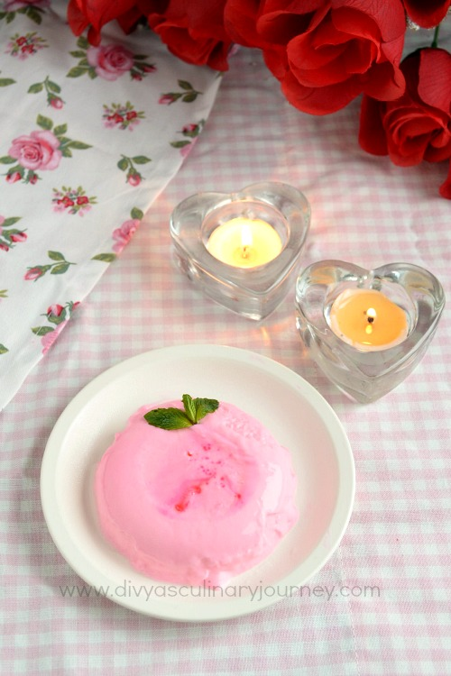Pink colored Panna Cotta