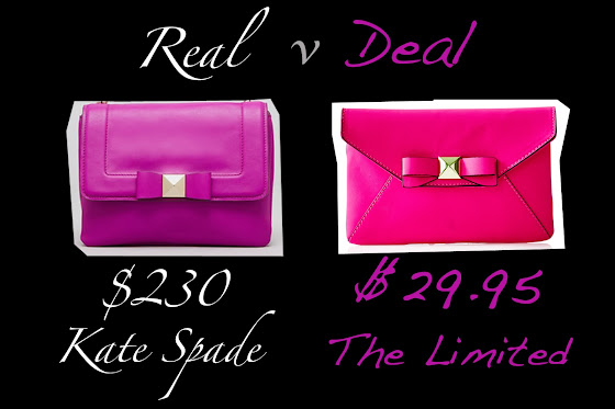 Real vs Deal is Kate Spade versus The Limited bow clutch.