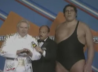 WWF / WWE WRESTLEMANIA 3 - Bobby 'The Brain' Heenan with Andre The Giant and Mean Gene Okerlund