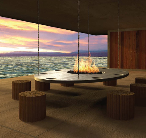 Best fireplace design ideas stainless steel hanging for Indoor and outdoor fireplace design