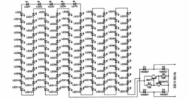 rangkaian skema lampu led rumah 20 watt