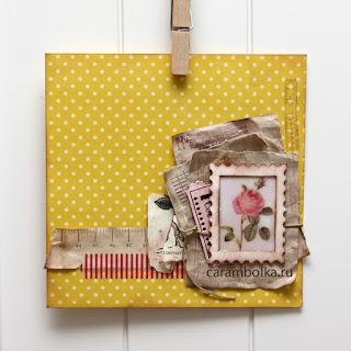 Сделанная руками открытка. Скрап-бумага, чипборд - рамочка, картинка с розой винтаж, билетик, тонированная в кофе бумага, глосси-акцент, скотч, декупажная карта, вощеный шнур. Мастер-класс по глосси. Магазин Скрапбукшоп.