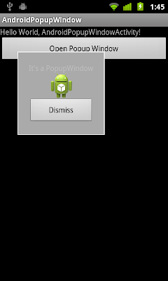 Example of PopupWindow