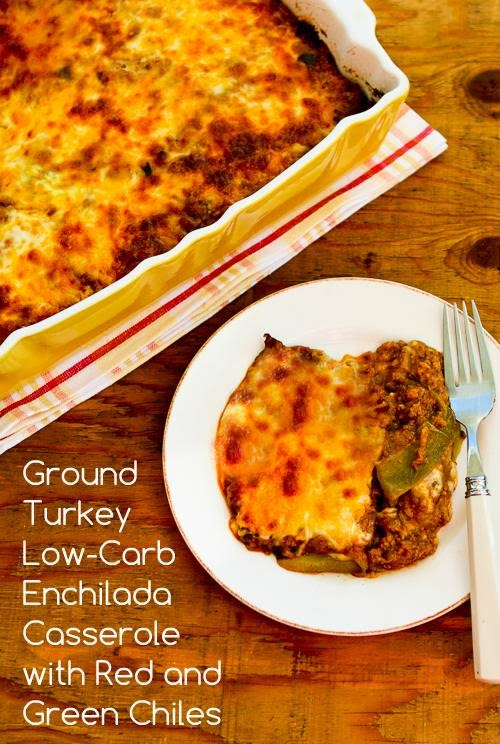 Ground Turkey Low-Carb Enchilada Casserole with Red and Green Chiles found on KalynsKitchen.com