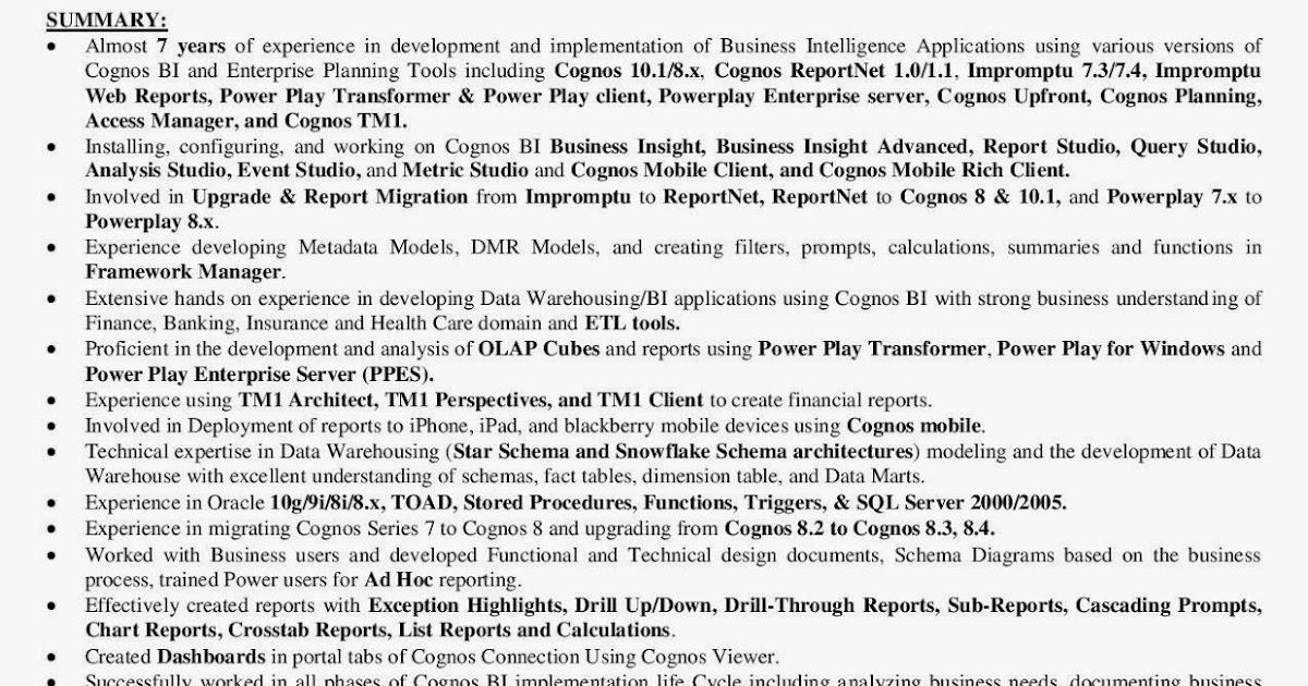 Cognos testing sample resume