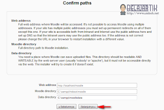 Pengecekan dan konfirmasi alamat website, folder moodle dan folder data moodle