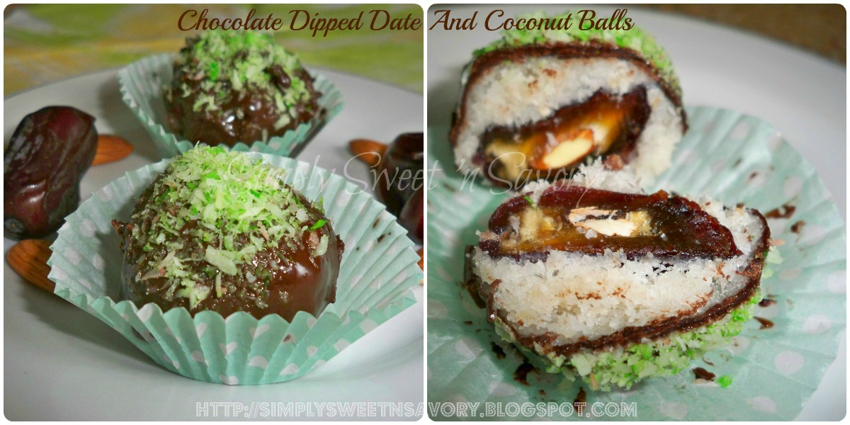 Simply Sweet 'n Savory: Chocolate Dipped Date And Coconut Balls