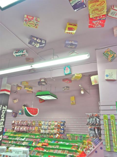 candy boxes on the ceiling, the candy aisle vancouver
