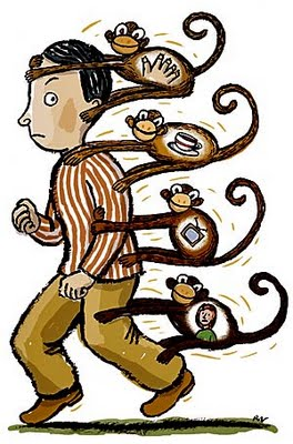 """whos got the monkey The subordinate walks away with one less monkey, and the boss walks  oncken, w, """"managing management time: who's got the monkey."""
