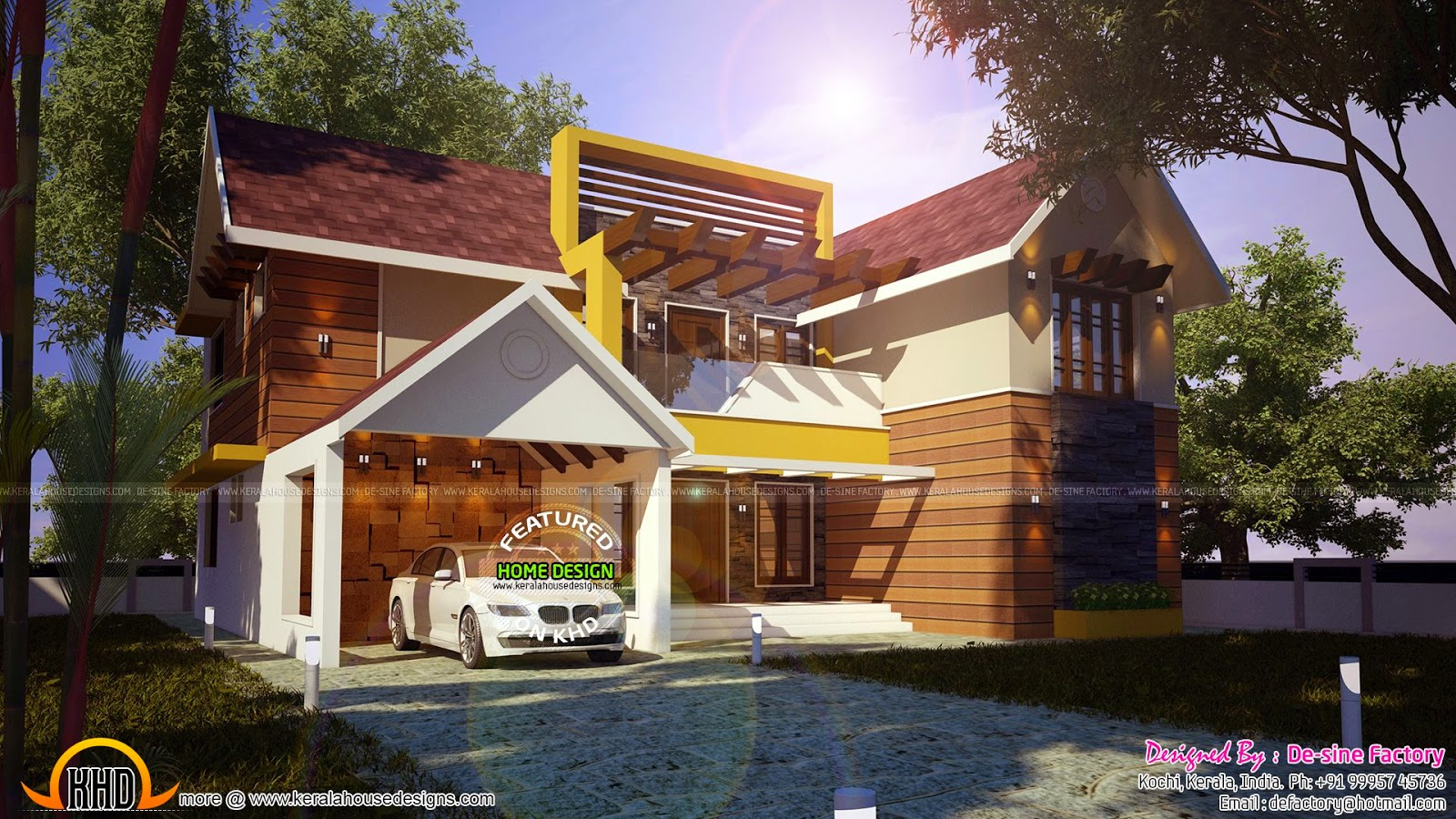 House plan of modern mix house kerala home design and House plan 3d view