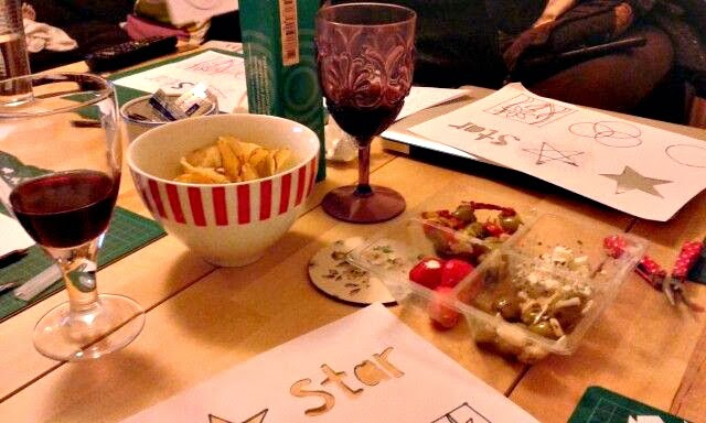 Papercutting craft night wine and nibbles