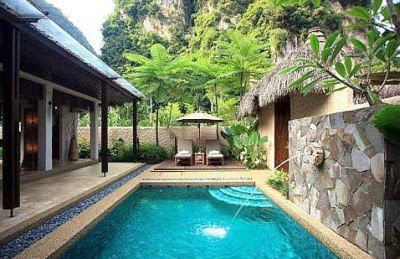The Banjaran Hotsprings Retreat is surrounded by majestic limestone hills and lush tropical foliage.