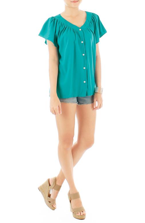 Flair Flutter Sleeve Blouse - Seagreen
