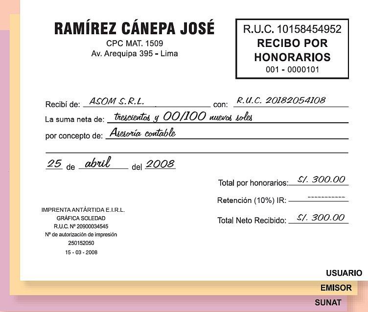 Recibo De Honorarios
