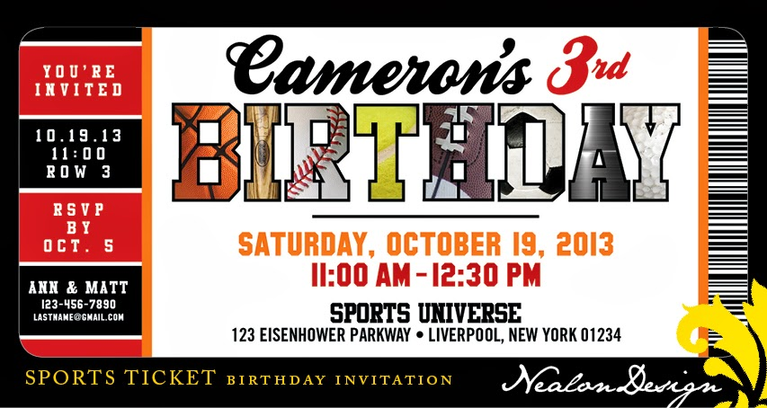 Nealon design sports ticket birthday invitation it is pretty easy to find a sport specific invitation baseball etc but a little tougher to find an all around winner this is a classic ticket design filmwisefo Image collections