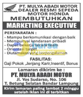 Karir Lampung di PT. Mulya Abadi Motor