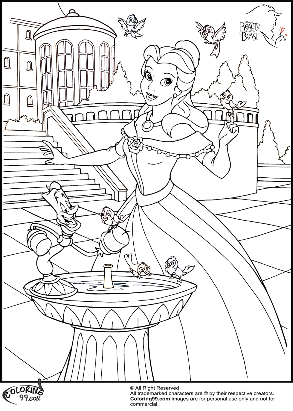 belle coloring pages - Belle Coloring Pages 2