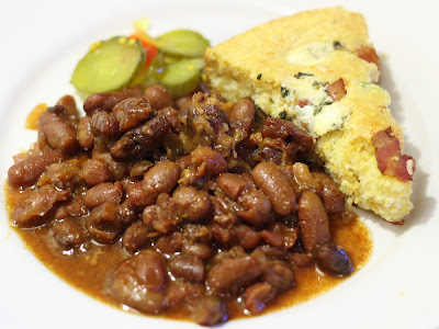 Bacon Blue Cheese Cornbread Baked Beans and Pickles